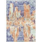 Damask Red / Victoria Blue Silken Modern 6x6 Square Rug