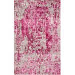 Rose Pink / Mexican Red Silken Modern 9x9 Square Rug