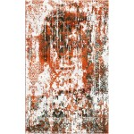 Roughy Orange / Mondo Brown Silken Modern 8x10 Rug