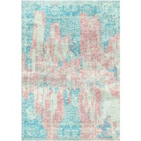 Rose Fog / Fountain Blue Silken Modern 8x10 Rug