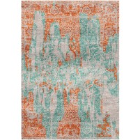 Sea Blue / Antique Brass Silken Modern 8x10 Rug