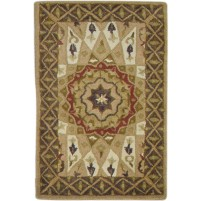 Traditional Hand Tufted wool Beige 2' x 3' Rug - pr000865