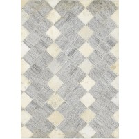 Modern Hand Woven Leather Cowhide / Jacquard Grey 2' x 2' Rug - rh000313