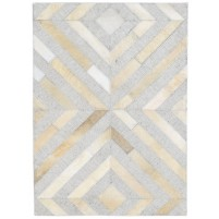 Modern Hand Woven Leather / Cotton Grey 2' x 3' Rug