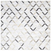 Modern Hand Woven Leather / Cotton Grey 4' x 4' Rug